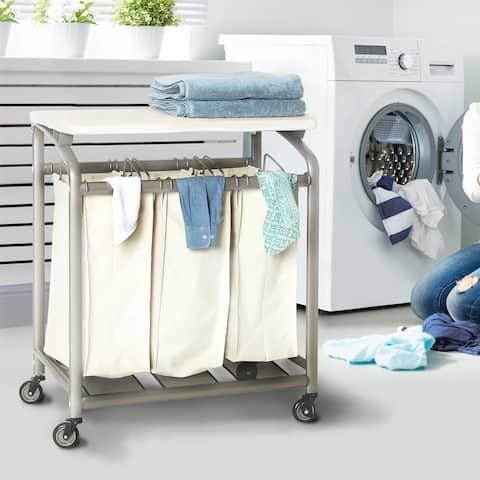Seville Classics Mobile 3-Bag Laundry Hamper Sorter Cart with Folding Table