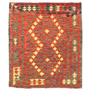 Herat Oriental Afghan Hand-woven Mimana Kilim Rust/ Gold Wool Square Rug (3'3 x 3'10)