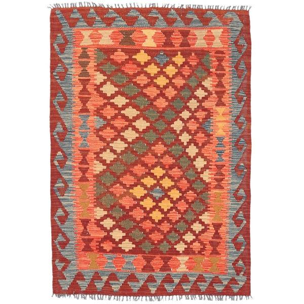 Herat Oriental Afghan Hand-woven Wool Mimana Kilim - 3'3 x 4'9