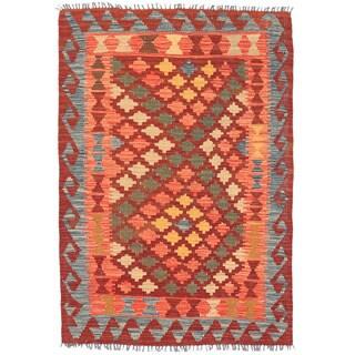 Herat Oriental Afghan Hand-woven Mimana Kilim Burgundy/ Salmon Wool Rug (3'3 x 4'9)