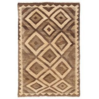 Herat Oriental Afghan Hand-woven Mimana Kilim Ivory/ Tan Wool Rug (3'2 x 4'11)