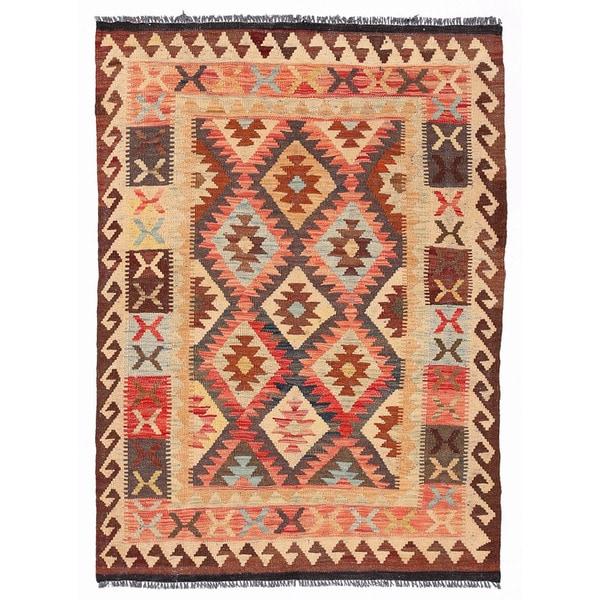 Handmade Herat Oriental Afghan Wool Mimana Kilim (Afghanistan) - 3'5 x 4'9