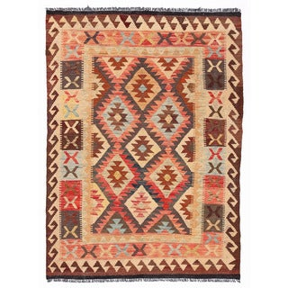 Herat Oriental Afghan Hand-woven Mimana Kilim Ivory/ Salmon Wool Rug (3'5 x 4'9)