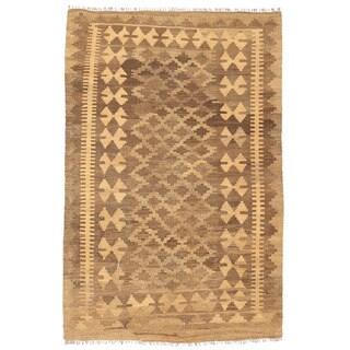 Herat Oriental Afghan Hand-woven Mimana Kilim Tan/ Ivory Wool Rug (3'2 x 4'9)