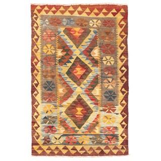Herat Oriental Afghan Hand-woven Mimana Kilim Multicolor Wool Rug (3' x 4'9)