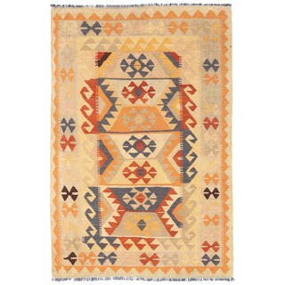 Herat Oriental Afghan Hand-woven Mimana Kilim Ivory/ Light Gray Wool Rug (3'3 x 4'11)