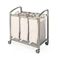 Seville Classics Premium 3-Bag Heavy-Duty Laundry Hamper Sorter Cart