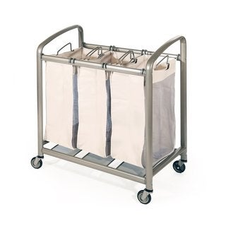 Seville Classics Champagne Metal 3-bag Slanted Handle Laundry Sorter