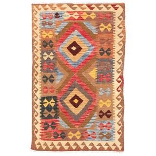Herat Oriental Afghan Hand-woven Mimana Kilim Beige/ Ivory Wool Rug (3' x 4'11)