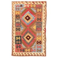 Herat Oriental Afghan Hand-woven Wool Mimana Kilim - 3' x 4'11