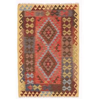 Herat Oriental Afghan Hand-woven Wool Mimana Kilim (3'3 x 4'11)