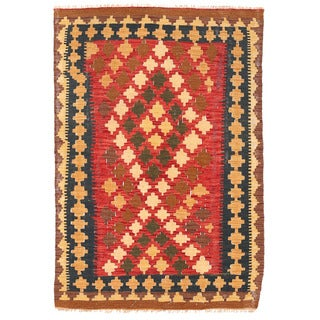 Herat Oriental Afghan Hand-woven Wool Mimana Kilim (3'1 x 4'7)