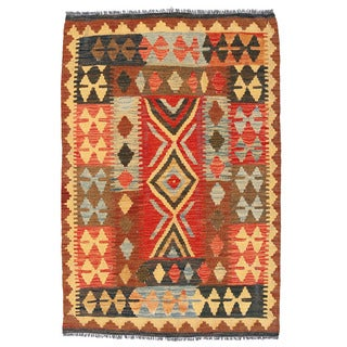 Herat Oriental Afghan Hand-woven Wool Mimana Kilim (3'2 x 4'9)