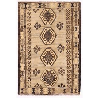 Herat Oriental Afghan Hand-woven Mimana Kilim Tan/ Brown Wool Rug (3'3 x 4'8)