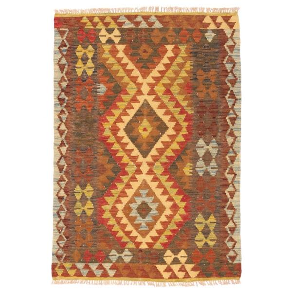 Handmade Herat Oriental Afghan Wool Mimana Kilim - 3'3 x 4'8 (Afghanistan)