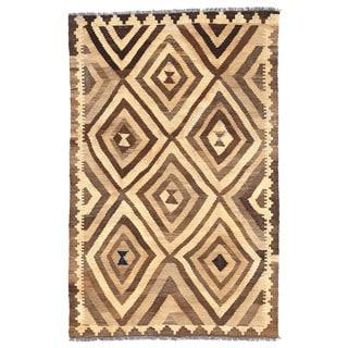 Herat Oriental Afghan Hand-woven Wool Mimana Kilim (3'2 x 4'11)