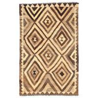 Herat Oriental Afghan Hand-woven Wool Mimana Kilim (3'2 x 4'11) - 3'2 x 4'11