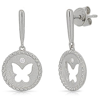 Kabella Sterling Silver Cubic Zirconia Butterfly Dangling Earrings