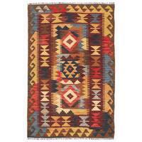 Herat Oriental Afghan Hand-woven Wool Mimana Kilim - 3'2 x 4'9