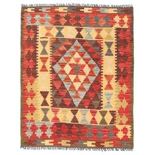 Herat Oriental Afghan Hand-woven Mimana Kilim Gold/ Red Wool Rug (3'4 x 4'3)