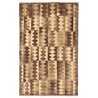 Herat Oriental Afghan Hand-woven Mimana Kilim Ivory/ Tan Wool Rug (3' x 4'10)
