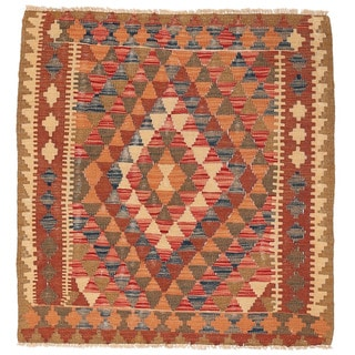 Herat Oriental Afghan Hand-woven Wool Mimana Kilim (3' x 3'4)