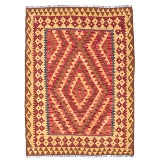 Herat Oriental Afghan Hand-woven Wool Mimana Kilim (3'3 x 4'7)