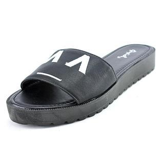 Qupid Women's Glenn-04 Black Synthetic Slide-on Sandals