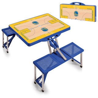 Picnic Time Golden State Warriors Blue Portable Picnic Table With Sports Field Design