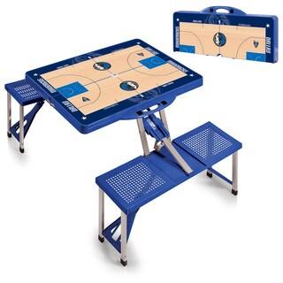 Picnic Time Dallas Mavericks Blue Sports Field Design Portable Picnic Table