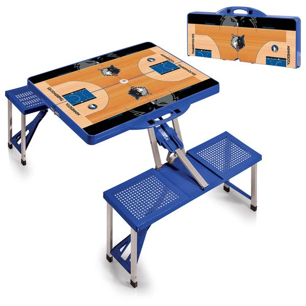 Picnic Time Minnesota Timberwolves Blue Aluminum/Plastic Portable Picnic Table with Sports Field Design