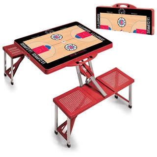 Picnic Time Los Angeles Clippers Red Portable Picnic Table With Sports Field Design