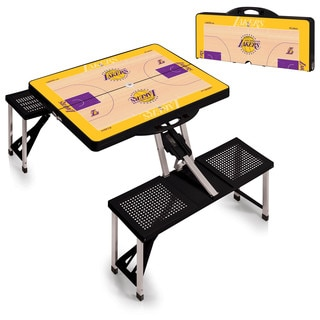 Picnic Time Los Angeles Lakers Black Aluminum Plastic Portable Picnic Table