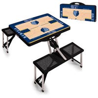 Picnic Time Memphis Grizzlies Black Portable Picnic Table with Sports Field Design