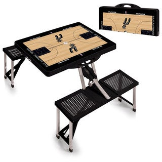 Picnic Time San Antonio Spurs Black Aluminum, Plastic Portable Picnic Table