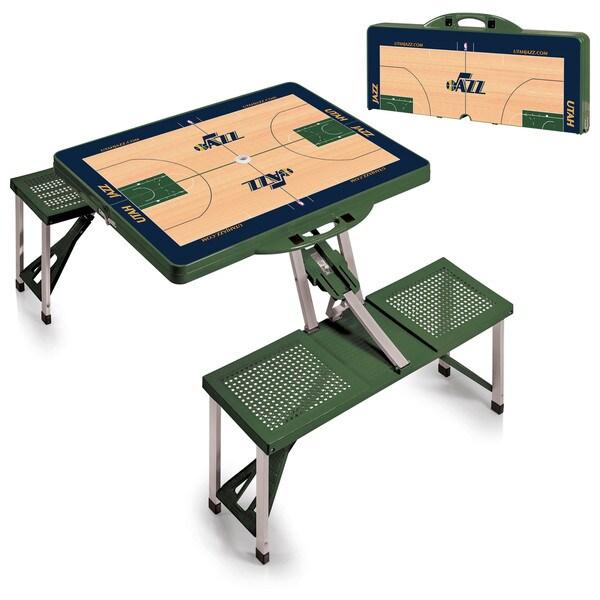 Picnic Time Utah Jazz Hunter Green Portable Picnic Table