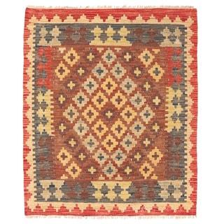 Herat Oriental Afghan Hand-woven Mimana Kilim Wool Rug (2'10 x 3'5)