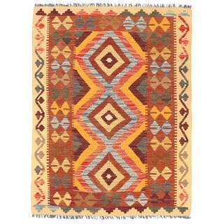 Herat Oriental Afghan Hand-woven Wool Mimana Kilim (3' x 3'11)