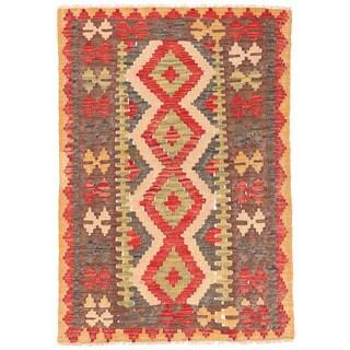 Herat Oriental Afghan Hand-woven Wool Mimana Kilim (2'6 x 3'8)