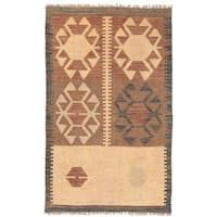 Handmade Herat Oriental Afghan Wool Mimana Kilim (Afghanistan) - 2'7 x 4'2