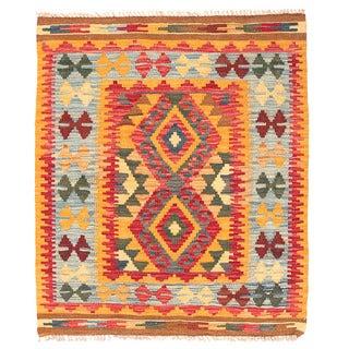 Herat Oriental Afghan Hand-woven Wool Mimana Kilim (2'11 x 3'6)