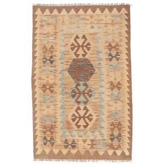 Herat Oriental Afghan Hand-woven Mimana Kilim Tan/ Light Blue Wool Rug (2'9 x 4'4)