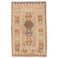Handmade Herat Oriental Afghan Wool Mimana Kilim (Afghanistan) - 2'9 x 4'4