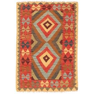 Herat Oriental Afghan Hand-woven Mimana Kilim Red/ Brown Wool Rug (2'8 x 4')