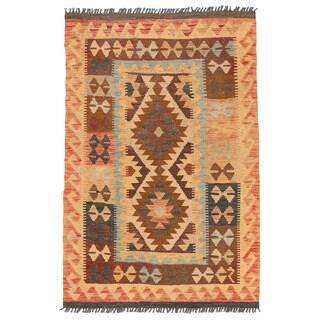 Herat Oriental Afghan Hand-woven Wool Mimana Kilim - 2'10 x 4'4