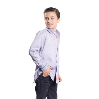 Boys' Elie Balleh Milano Italy Striped Cuff and Collar Slim Fit Shirt