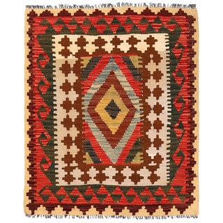 Herat Oriental Afghan Hand-woven Wool Mimana Kilim (2'10 x 3'6)