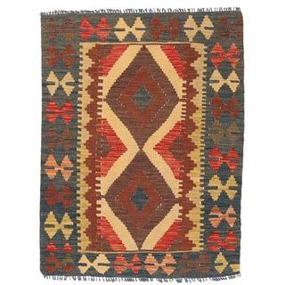 Herat Oriental Afghan Hand-woven Wool Mimana Kilim (2'9 x 3'7)