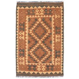 Herat Oriental Afghan Hand-woven Wool Mimana Kilim (2'6 x 3'10)