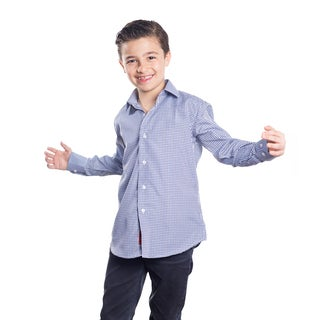 Elie Balleh Boy's Milano Italy Navy Rayon Plaid Slim-fit Shirt